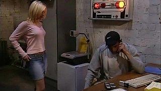Cute blonde girl having sex at work