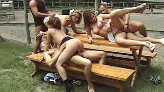 Czech outdoor orgy