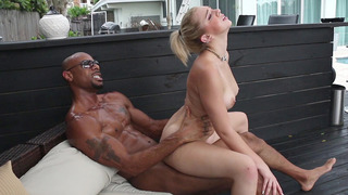 Tiffany Watson sat on his black shaft bouncing up and down