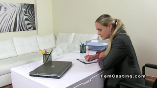 Blonde lesbian amateur eats female agent on casting
