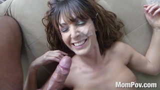 Busty Latina MILF homemade handjob blowjob facial