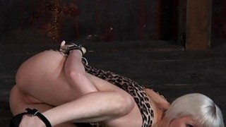 Tied up beauty receives pleasuring for her twat