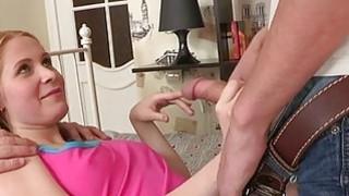 Enchanting virgin opens up her slit for studs joy