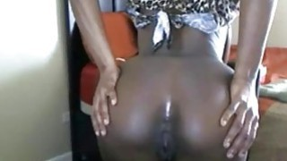 Ebony with big tits bouncing ass On Chair