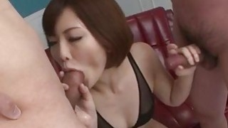 Hardcore session with two males for Tomoka Sakurai