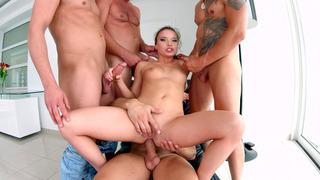 Anita Bellini getting gangbanged by four horny dudes