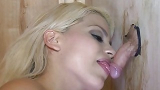 Blondie sucked dudes cock thru gloryhole