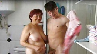 Playing with his pecker in the shower