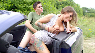 Ava Austen gets fucked by her shy passenger
