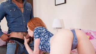 Redheaded teen get wet quickly by older guys