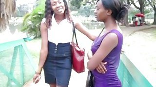 Two sexy ebony chicks decide to have a lesbian adventure in a public toilet