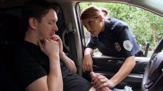 Horny cop Mercedes Carrera is sucking lucky driver's cock