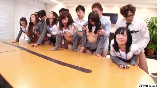 JAV huge group sex office party in HD Subtitled