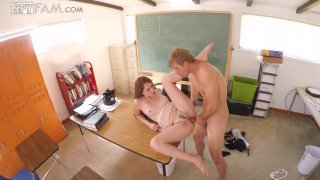 Naughty bimbo has a hardcore fuck session in the classroom