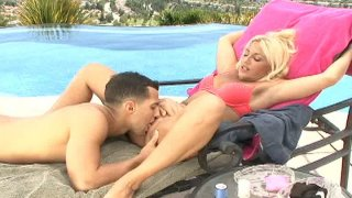Fluffy blonde woman Jazella Moore gets her bald pussy eaten and fucks missionary.