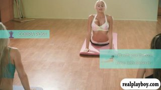 Yoga session with hot big boobs blonde trainer Khloe Terae