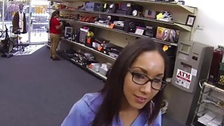 Horny Nurse fucks at the pawnshop for money