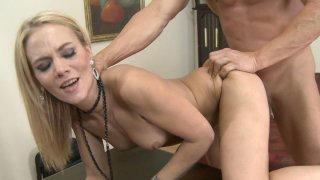 Nasty whore Sophia Lynn fucking doggy style and kneels downs to suck dick
