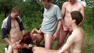 Hard BiSex perverted party in the forest