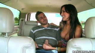 Slutty soccer fan Breanne Benson sucks a strong hot cock in the car