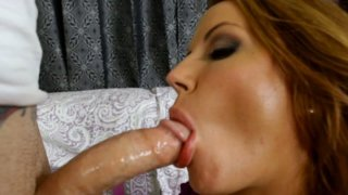 Fabulous blonde cougar Inari Vachs gives sloppy blowjob