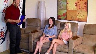 Two teens having job interview