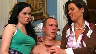 Sexy mum watches as stud pounds sweet babes twat