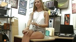 Sexy blonde babe screwed by pawn keeper in his pawnshop