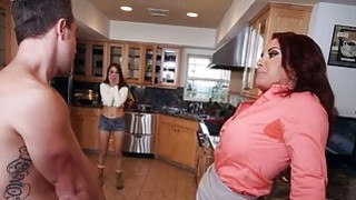 Stepmom Janet Mason threesome with teen in the kitchen