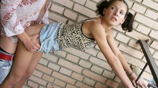 A young girl on roller skates fucked for all to see