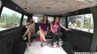 Three students chicks look so modest and innocent, nevertheless they get in our bus