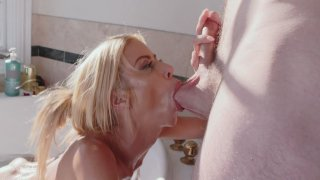Alexis Fawx is sucking cock and licking balls in the bathtub