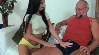 Young  beauty Jessyka Swan plays with old daddy.