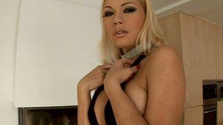 Smokin' hot blonde brick house Adriana Malkova stripteases