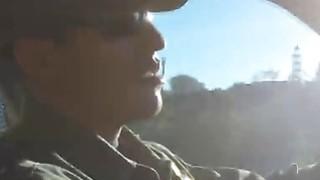 Border officer fucks beautiful Latina teen outdoors
