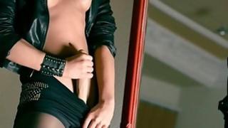 Mysterious pornstar masturbates with dildo