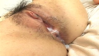 Lustful Japanese babe Maiko Imano gets creampied after a passionate missionary style fuck
