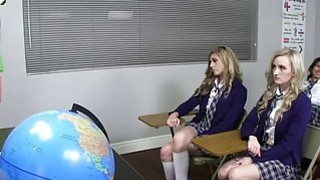 Blonde college teen fucked doggystyle in the detention room