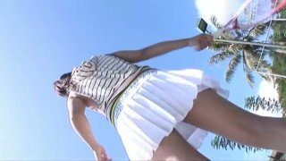 Tempting sporty babe Hana Haruna poses on cam wearing seductive swimsuit