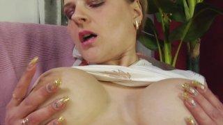 Busty mature whore riding big throbbing cock through pantyhose