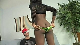 Big titted ebony pleases a big white cock