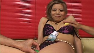 Sultry Japanese slut Kana Kawai gets her hairy snatch pleasured with several vibrators