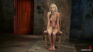 Tiny Southern Belle hung upside down, clamped, flogged, her huge nipples tortured, made to cum hard!