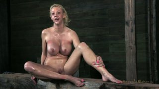 Blond slut Courtney Taylor blowjobs upside down