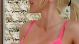 Big tits blonde slut takes soapy shower with hung client